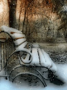 winter gif, park bench covered in snow