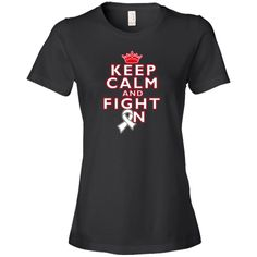Keep Calm and Fight On Lung Cancer awareness Women's Fashion T-Shirts spotlighting this cool fighter slogan with an awareness ribbon featuring the crown logo #LungCancerFighter #LungCancerAwareness #KeepCalmFightOn