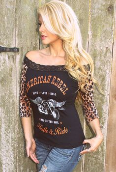Rodeo Fox Black 'American Rebel' Lace-Trim Tee - Women & Plus Biker Chick Style, Harley Davidson, Biker Girl, Off Shoulder Tops, Shoulder Cut, Casual Fall, Cute Outfits, My Style, Country Style