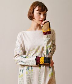 Color block fingerless glove / ShopStyle(ショップスタイル): Graniph (グラニフ)