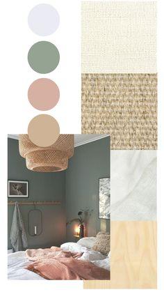 Bedroom Green, Room Ideas Bedroom, Bedroom Colors, Home Decor Bedroom, Home Interior Design, Moodboard Interior Design, Color Interior, House Colors, Home And Living