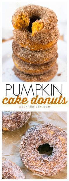 fig dessert recipes, cake dessert recipes, canned pumpkin dessert recipes - Pumpkin Cake Donuts - A simple recipe that produces a moist, sweet and delicious donut. Add the cinnamon sugar and they are to die for! Pumpkin Cake Donut Recipe, Pumpkin Dessert, Pumkin Donuts, Pumpkin Cake Recipes, Cake Donut Recipes, Cake Donut Recipe Baked, Pumpkin Cakes, Fig Dessert, Pumpkin Cheesecake
