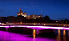 A view of Inverness Castle from across the River Ness at night, Inverness city centre