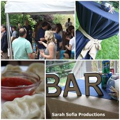 50th Surprise Party: Navy and burlap. Sarah Sofia Productions #surpriseparty #50thbirthdayparty #bar #tents
