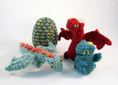 """Dragons are generally portrayed as fearsome monsters in the myths and legends in which they appear, but I was always more attracted to them as magical creatures that humans could form a bond with. As a child I imagined finding an egg and hatching my own dragon friend, which is why I wanted to create these little dragon hatchlings and their eggs. In these PDF instructions you will find patterns for three different dragons, the smallest is the Tiny Dragon Hatchling at 1.5""""/4 cm tall; the ..."""