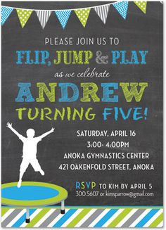 Trampoline Boy Blue + Green Stripes Chalkboard Birthday Party Invitations, 36037
