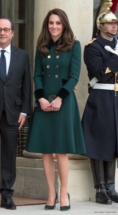 Kate Middleton's outfit in Paris. Kate's coat is a bespoke piece by Catherine Walker & Co., her earrings are by Monica Vinader and her watch is by Cartier. Her shoes appear to be from Gianvito Rossi and her clutch bag is a mystery at the moment.
