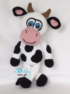 This is crochet pattern and NOT the finished cow toy. Crochet pattern can be downloaded immediately from Etsy once payment is confirmed. Pattern is written in ENGLISH (in US terms), DANISH, DUTCH, FRENCH and GERMAN languages. This cow is easy to make, if you know all the basic crochet terms: - crocheting in rounds - chain, slip, single crochet, double crochet, half double crochet stitches - increasing and decreasing Tutorial comes with lots of photos illustrating the process to help you. ...