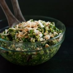 Coconut quinoa with kale and tropical cilantro-cashew pesto, inspired by a trip to Belize.
