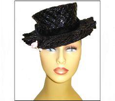 Vintage 1930s Hat Late 30s Designer Black Tilt by vintagediva60, $135.00