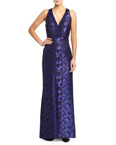 Sleeveless Jacquard Gown W/ Lace Inserts  by J. Mendel at Neiman Marcus.