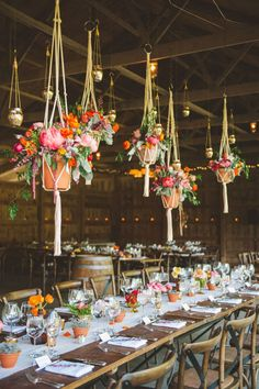Lush, Colorful Floral Arrangements Suspended Above Rustic Wedding Reception Tables - 20 (Easy!) Ways to Decorate Your Wedding Reception Rustic Wedding Reception, Wedding Reception Decorations, Wedding Receptions, Wedding Ideas, Reception Ideas, Wedding Inspiration, Reception Checklist, Office Reception, Wedding Tables
