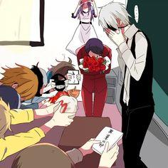Tokyo Ghoul: Rize, Kaneki, Tsukiyama, Uta, Nishiki, Touka, Hide, and Hinami