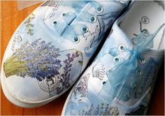 more decoupaged altered shoes. #decoupage #altered #shoes