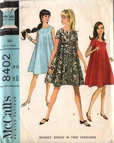 """1966 Mod tent dress, trapeze dress, back zipper. """"Four section, widely flared dress may be sleeveless or have short set in sleeves. Dress has center back zipper, faced and interfaced rounded neckline and dress may be lined"""