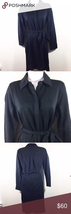 Ann Taylor Petite Chic Black Dress with Belt Ann Taylor petite dress. Buttons down half way with collar. Has belt and belt loops. 95% Rayon 5% Spandex Ann Taylor Dresses Midi