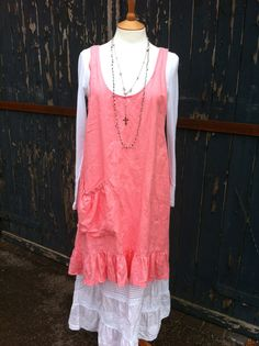 Linen Apron Dress Tunic Jumper Pinafore with Slouch Pocket and Frill Oversized Slip Loose Baggy Crinkled Vest SunDress