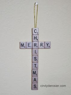 Scrabble cross with photo tutorial. Cindy deRosier: My Creative Life: A Scrabble Merry Christmas Craft Noel Christmas, Diy Christmas Ornaments, Christmas Projects, Winter Christmas, All Things Christmas, Holiday Crafts, Christmas Ideas, Meaning Of Merry Christmas, Scrabble Christmas Decorations