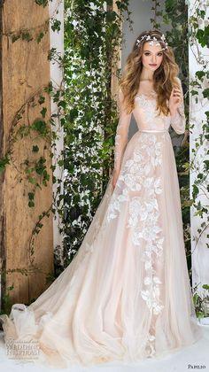papilio 2018 bridal long sleeves sheer bateau sweertheart neckline full embellishment romantic blush a  line wedding dress chapel train (3) mv -- Papilio 2018 Wedding Dresses #weddingdress