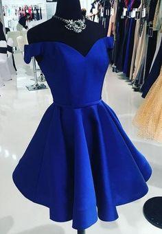 Mermaid V-Neck Short Homecoming DressRoyal Blue Short Homecoming Dresses Off the Shoulder Prom Dress