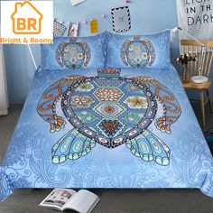 4 sizes available: Twin/Single: x Full/Double: x Queen: x King: x and the Pillow Cover: x Our bedding set include two pillow covers and one duvet cover. Paisley Bedding, Duvet Bedding, Blue Bedding Sets, Comforter Sets, Blue Duvet, Bed Covers, Duvet Cover Sets, Mandala Turtle, Textiles