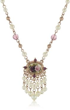 1928 Bridal Manor House Beaded Pendant Necklace - 1928, Beaded, Bridal, House, Manor, Necklace, pendant http://designerjewelrygalleria.com/1928-jewelry/1928-necklaces/1928-bridal-manor-house-beaded-pendant-necklace/