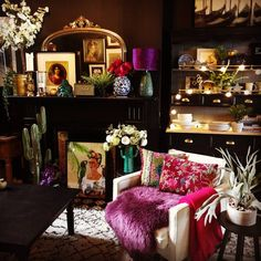 """magicalhomestead: """" Absolutely magical- black walls, black fireplace, colorful furnishings, and lighted hutch all ready for entertaining. Decor, Room, Home, Eclectic Interior, Living Room Decor, Room Inspiration, House Interior, Apartment Decor, Interior Design"""