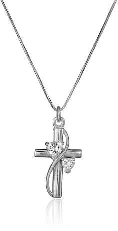 Sterling Silver Cubic Zirconia Faith Hope Love Cross Pendant Necklace, 18' * Continue to the product at the image link.