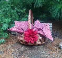 Girl's Little Red Riding Hood Woven Basket with Red and White Flowered Cloth And Red Flower Storybook Costume Accessory- Ready to Ship by SewforYou on Etsy