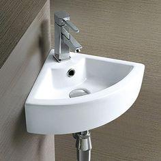 Bermuda Wall Hung Small Cloakroom Basin - 325 x Small Downstairs Toilet, Downstairs Cloakroom, Small Toilet, New Toilet, Small Bathroom, Bathroom Ideas, Cloakroom Ideas, Bathrooms, Corner Sink Bathroom