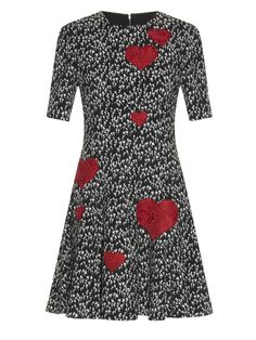 Dolce & Gabbana Heart appliqué and tulip-print dress