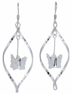 Dangling Butterfly Twisted Loop Earrings Women's 925 Sterling Silver [ISE0082] #BKGjewelry #DropDangle