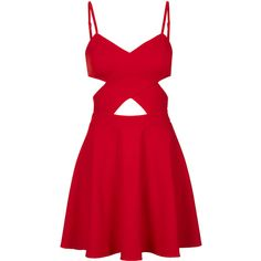 TOPSHOP **Cut-Out Skater Dress by WYLDR (210 BRL) ❤ liked on Polyvore featuring dresses, vestidos, short dresses, red, red dress, reds jersey, topshop dresses, short red dress and skater dress