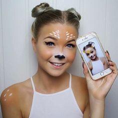 Deer snapchat filter Halloween Makeup by @beautybyabrahamsen  featuring glo minerals Luxe Liquid Foundation