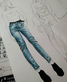 The jean details are so good by 💙💙💙 Fashion Figure Drawing, Fashion Drawing Dresses, Fashion Illustration Dresses, Fashion Illustrations, Fashion Design Sketchbook, Fashion Design Drawings, Fashion Sketches, Silhouette Mode, Textiles Y Moda