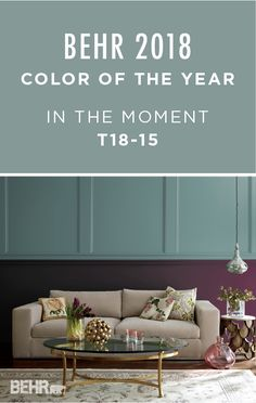 How will you choose to use the BEHR 2018 Color of the Year: In The Moment? This modern living room contrasts the soft blue-green hue against the darker tones of Nocturne Shade. The result is a bold and dramatic look that pairs well with gold and white accent colors. Discover your own interior design style with a little inspiration from the BEHR 2018 Color Trends palette. Be sure to order a sample size today to test on your project.