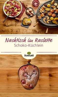 Schoko-Kirsch-Küchlein (Raclette-Rezept) Original raclette variation as a dessert! This Christmas chocolate cherry cake brings variety to the table. Spring Desserts, Desserts For A Crowd, Party Desserts, Spring Recipes, Healthy Dessert Recipes, Vegan Desserts, Bon Dessert, Oreo Dessert, Desserts Printemps