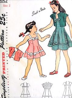 1940s ADORABLE Little Girls Toddlers Sundress and Bolero Pattern SIMPLICITY 2052 Simple To Make and So Cute Childrens Size 2 Vintage Sewing Pattern