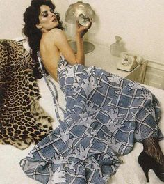 Ossie Clark dress 70s color photo print ad blue grey low back fashion model magazine