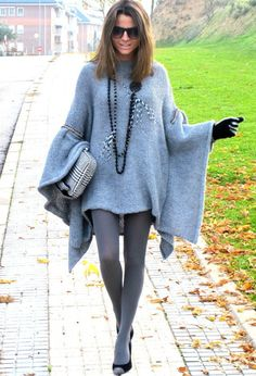 @roressclothes closet ideas #women fashion outfit #clothing style apparel knit Light Blue Poncho Outfit Idea