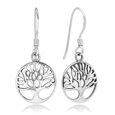 925 Sterling Silver Filigree Ancient Tree of Life Symbol Round Dangle Hook…