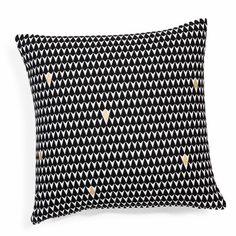 Housse de coussin motifs triangles en coton noire/blanche 40 x 40 cm