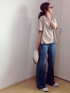 mayumiさんのTシャツ/カットソー「STUDIOUS 【WEB限定】STUDIOUS Vネックバックドレープカットソー【先行予約】」を使ったコーディネート