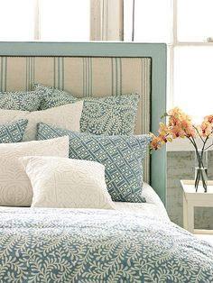 the French Ticking teal upholstered headboard!Love the French Ticking teal upholstered headboard! Deco Champetre, Decoration Bedroom, Suites, My New Room, Beautiful Bedrooms, Home Interior, Home Bedroom, Budget Bedroom, Bedroom Ideas