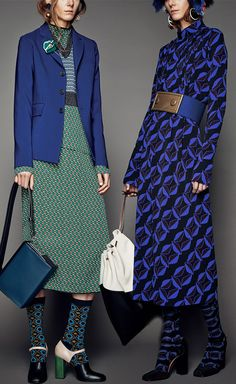 Consuelo Castiglioni looked to the clash of 1970's prints and designs for her Marni Pre-Fall 2015 collection - Looks 3 and 17 at Moda Operandi