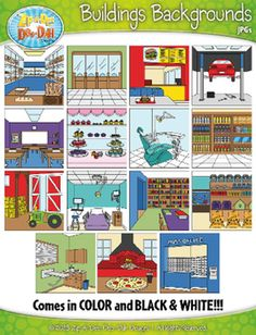 Buildings Exterior Background Scenes Clip Art Set  Includes 30 Graphics!You will receive 30 clipart graphics that were hand drawn by myself; 15 Color and 15 B/W Outlined Graphics. Please see the list below of themed background scenes that are including in this set. $4.00