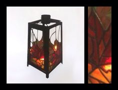 Autumn Leaves - Stained Glass Lantern - by Smash Glassworks [SOLD]