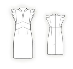 Dress With Flounces - Sewing Pattern #4300. Made-to-measure sewing pattern from Lekala with free online download.