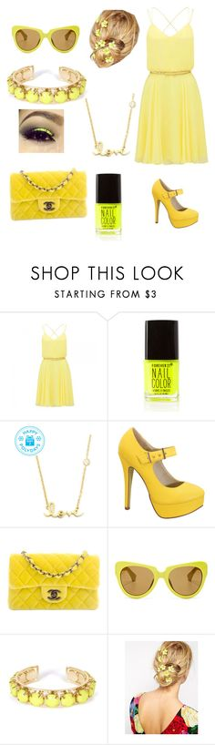 """""""Yellow (made by my cousin Vanessa )"""" by gymnastonbars ❤ liked on Polyvore featuring Forever New, Forever 21, Sydney Evan, Chanel, Linda Farrow, Towne & Reese and ASOS"""