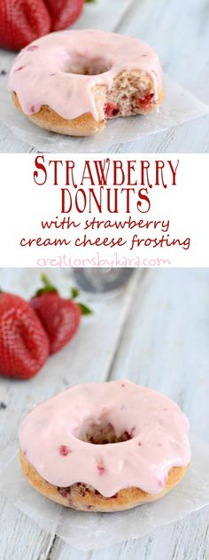 Baked Strawberry Donut Recipe - These donuts are simple to make, bursting with b. Baked Strawberry Donut Recipe - These donuts are simple to make, bursting with berries, and topped with an incredibl Baked Donut Recipes, Baked Doughnuts, Baking Recipes, Donuts Donuts, Mini Donuts, Delicious Donuts, Delicious Desserts, Yummy Food, Baked Strawberries